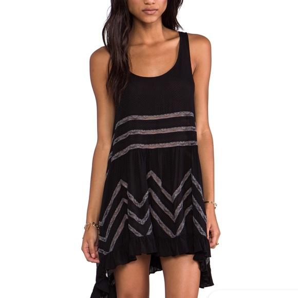 ebe8d6d08439 Free People Dresses | Voile Trapeze Dress Black Gray Sz Sm | Poshmark